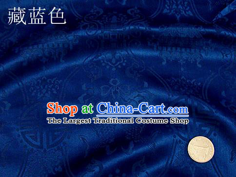 Traditional Chinese Royal Palace Double Fishes Pattern Design Royalblue Brocade Fabric Silk Fabric Chinese Fabric Asian Material