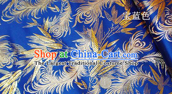 Traditional Chinese Royal Feather Bamboo Pattern Royalblue Brocade Tang Suit Fabric Silk Fabric Asian Material