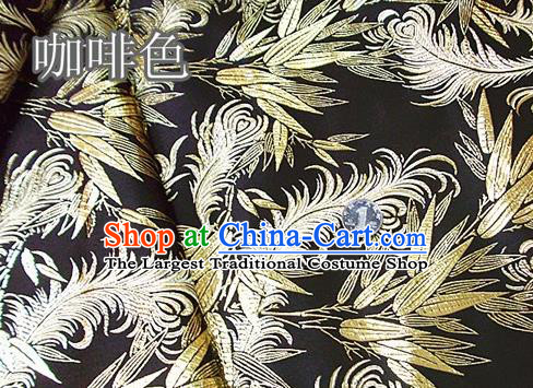 Traditional Chinese Royal Feather Bamboo Pattern Brown Brocade Tang Suit Fabric Silk Fabric Asian Material