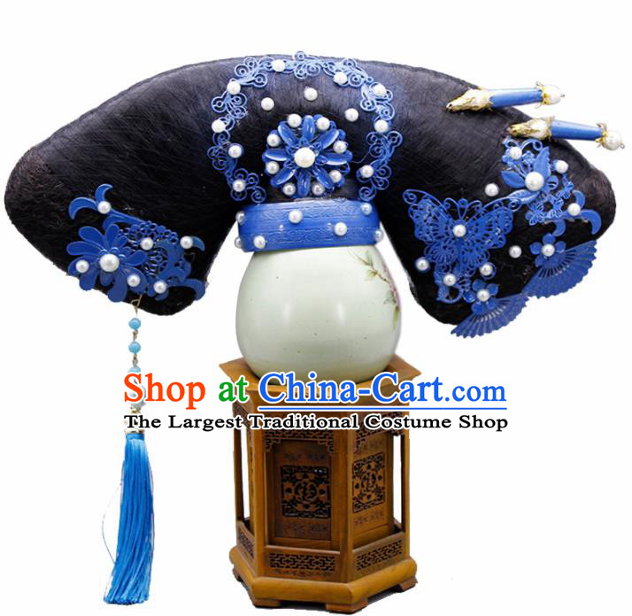 Chinese Traditional Qing Dynasty Hair Accessories Ancient Manchu Queen Wigs and Hairpins for Women