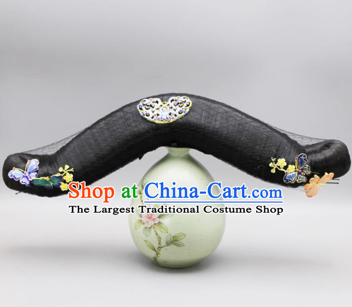 Chinese Traditional Qing Dynasty Hair Accessories Ancient Manchu Princess Wigs and Hairpins for Women