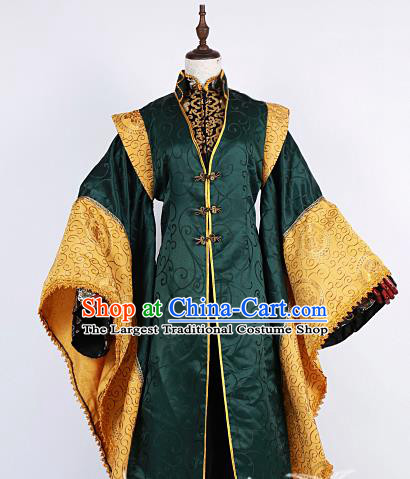 Chinese Traditional Ancient Swordsman Nobility Childe Green Costumes for Men