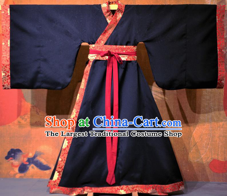 Chinese Traditional Ancient Han Dynasty Nobility Childe Costume Black Curving-front Robe for Men