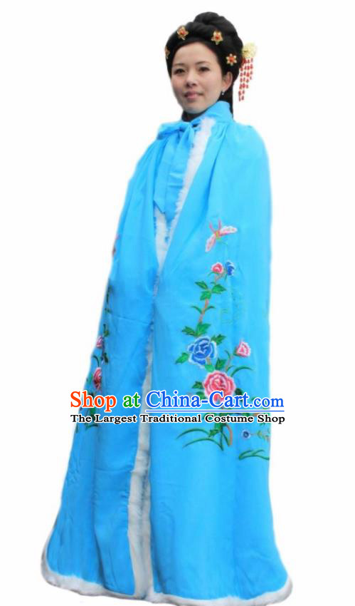 Chinese Traditional Han Dynasty Princess Blue Cloak Ancient Palace Lady Cape for Women
