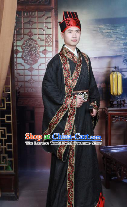 Chinese Han Dynasty Scholar Hanfu Clothing Traditional Ancient Landlord Costumes for Men