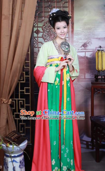 Traditional Chinese Tang Dynasty Court Maid Costume Ancient Peri Hanfu Dress for Women