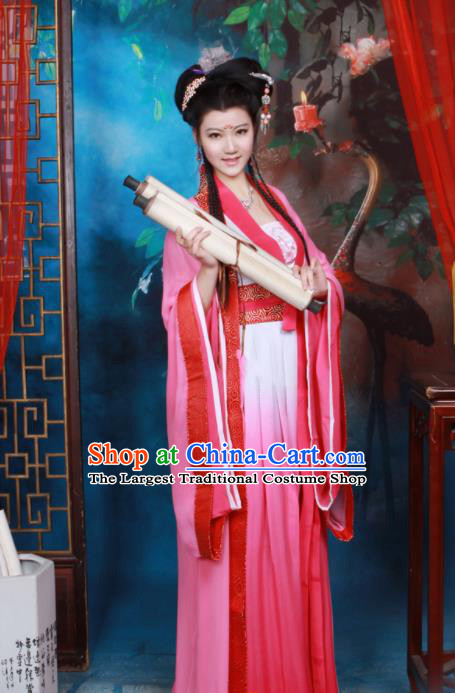 Chinese Tang Dynasty Palace Princess Rosy Hanfu Dress Ancient Peri Embroidered Historical Costumes for Women