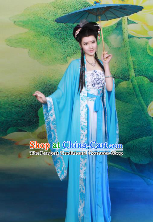 Chinese Tang Dynasty Nobility Lady Blue Hanfu Dress Ancient Princess Embroidered Historical Costumes for Women