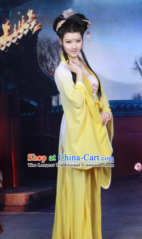 Chinese Ancient Peri Princess Yellow Hanfu Dress Tang Dynasty Nobility Lady Historical Costumes for Women