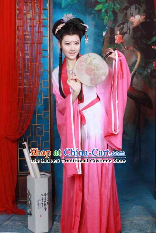 Chinese Ancient Palace Princess Pink Hanfu Dress Tang Dynasty Nobility Lady Historical Costumes for Women