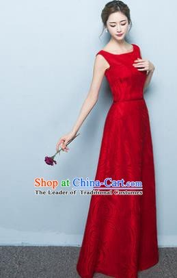 Professional Modern Dance Costume Chorus Group Clothing Bride Wine Red Long Full Dress for Women