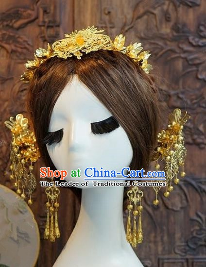 Chinese Handmade Classical Hairpins Hair Accessories Ancient Xiuhe Suit Headwear Phoenix Coronet for Women