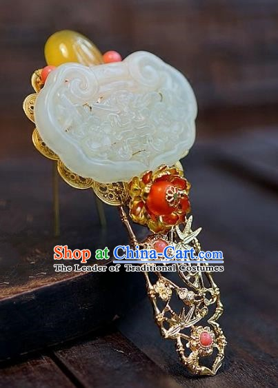 Chinese Handmade Classical Jade Hairpins Hair Accessories Ancient Bride Xiuhe Suit Headwear Hair Clip for Women