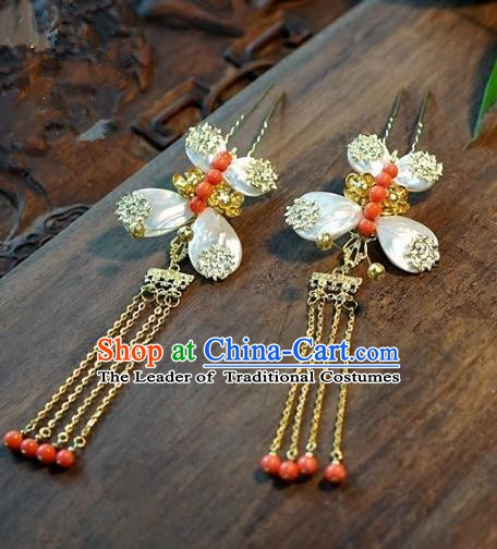 Chinese Handmade Classical Butterfly Tassel Hairpins Hair Stick Hair Accessories Ancient Bride Headwear for Women