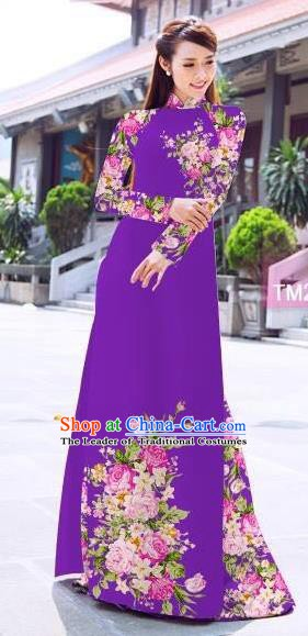 Asian Vietnam Palace Costume Vietnamese Trational Dress Printing Purple Ao Dai Cheongsam Clothing for Women