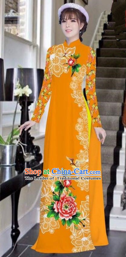 Asian Vietnam National Costume Vietnamese Bride Trational Dress Printing Peony Orange Ao Dai Cheongsam for Women