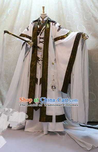 Ancient China Cosplay Han Dynasty Swordsman Costumes Nobility Childe Clothing for Men