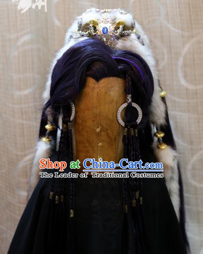 China Ancient Tang Dynasty Cosplay Swordsman Prince Wig Sheath and Hair Accessories Hairdo Crown