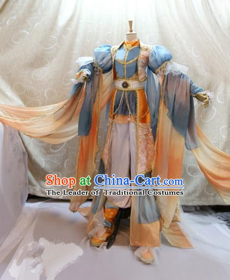 China Ancient Cosplay Swordswoman Clothing Traditional Fairy Blue Dress Clothing for Women