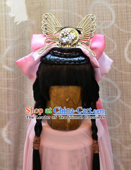 China Ancient Song Dynasty Cosplay Young Lady Wig and Hair Accessories