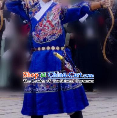 Ancient Chinese Ming Dynasty Imperial Bodyguard Swordsman Embroidered Costume Blue Robe for Men