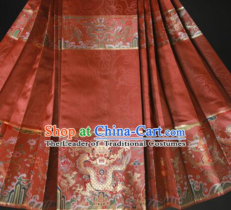 Ancient Chinese Ming Dynasty Palace Empress Costume Embroidered Horse-face Skirt for Women