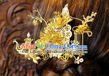 Chinese Handmade Classical Hair Accessories Ancient Golden Hair Stick Hairpins for Women