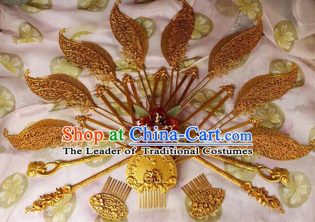 Ancient China Tang Dynasty Imperial Concubine Wedding Hair Accessories Hairpins Complete Set