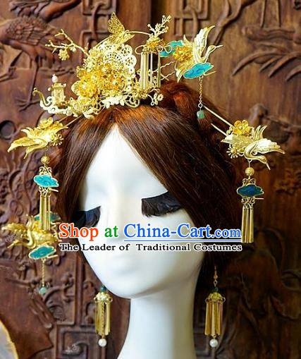 Chinese Handmade Classical Hair Accessories Ancient Crane Phoenix Coronet Hairpins Complete Set for Women