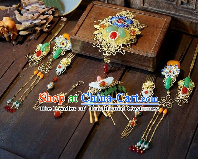 Chinese Handmade Classical Wedding Hairpins Ancient Hanfu Hair Accessories Complete Set for Women