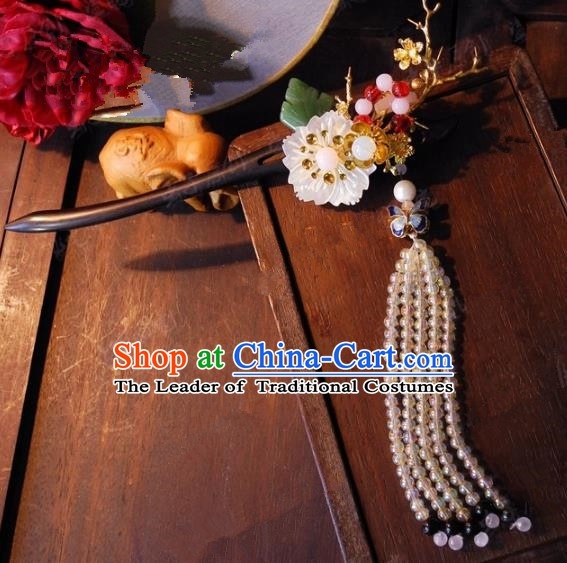 Chinese Handmade Classical Beads Tassel Hairpins Ancient Hanfu Headdress Hair Accessories Hair Stick for Women