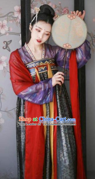 Traditional China Ancient Tang Dynasty Palace Princess Embroidered Costumes for Women