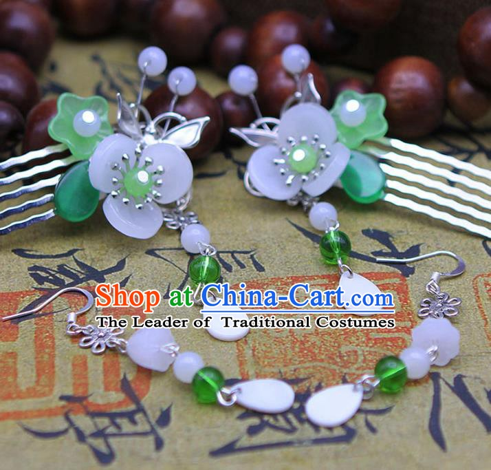 Handmade Chinese Ancient Princess Hair Accessories Flowers Tassel Hair Comb Hairpins for Women