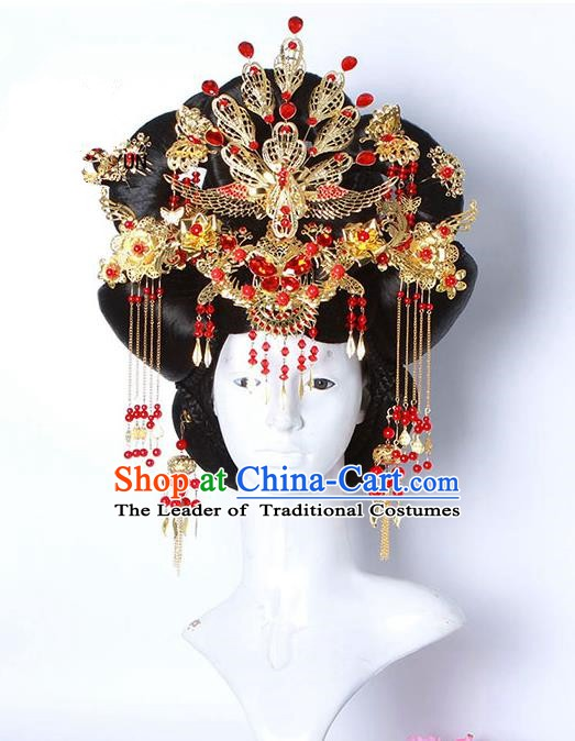 Handmade Chinese Ancient Imperial Concubine Hair Accessories Wig and Phoenix Coronet Hairpins Complete Set for Women