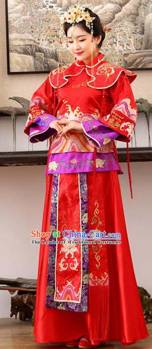 Traditional Ancient Chinese Costume Xiuhe Suits Wedding Embroidered Red Toast Clothing for Women