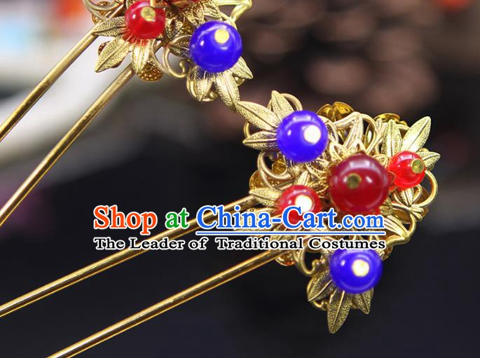 Handmade Chinese Ancient Palace Lady Hair Accessories Hanfu Golden Hairpins Hair Stick for Women