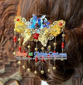 Chinese Handmade Classical Hair Accessories Ancient Hanfu Hairpins Cloisonne Tassel Hair Clip for Women