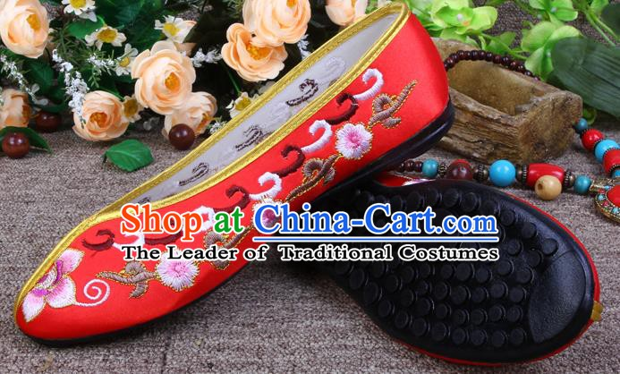 Asian Chinese Wedding Shoes Embroidered Shoes, Traditional China Red Hanfu Shoes for Women