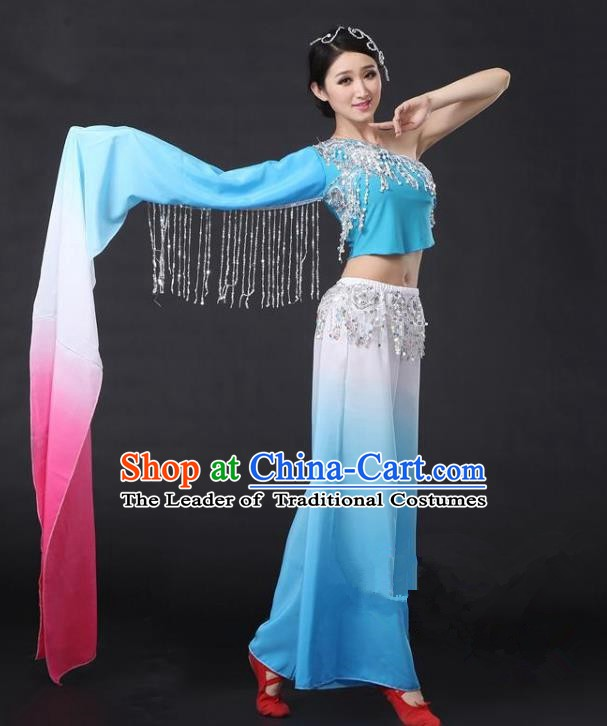 Traditional Chinese Yangge Folk Dance Water Sleeve Costume, China Yanko Dance Blue Clothing for Women