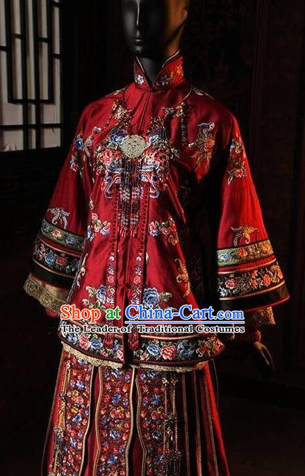 Traditional Chinese Qing Dynasty Young Mistress Embroidered Costume Red Xiuhe Suits for Women