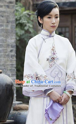 Traditional Chinese Late Qing Dynasty Young Mistress Embroidered Costume Xiuhe Suits for Women