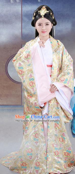 Traditional Chinese Han Dynasty Imperial Concubine Embroidered Costume and Headpiece Complete Set for Women