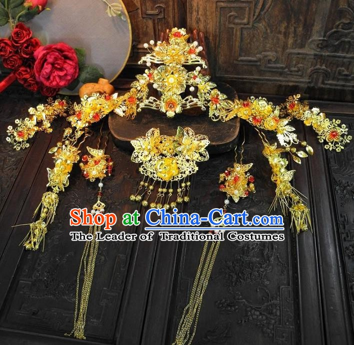 Chinese Handmade Classical Hair Accessories Phoenix Coronet Ancient Wedding Hairpins Complete Set for Women