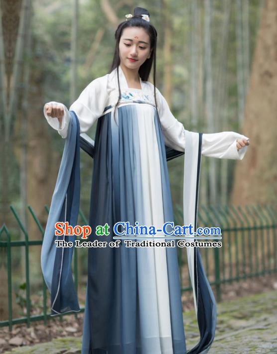Traditional Chinese Ancient Tang Dynasty Princess Costume Embroidered Hanfu Dress for Women