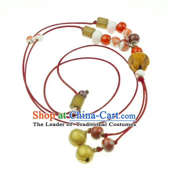 Traditional Chinese Pendant Accessories Bells Red Necklace for Women
