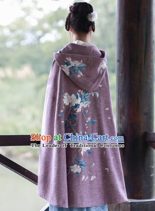 Traditional Chinese Ancient Ming Dynasty Princess Costume Embroidered Hanfu Cloak for Women