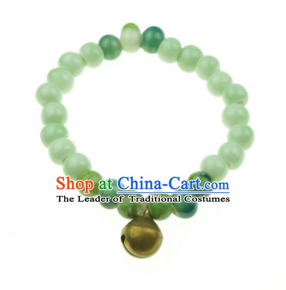 Traditional Chinese Bracelet Accessories Jingdezhen Ceramics Green Beads Bangle for Women