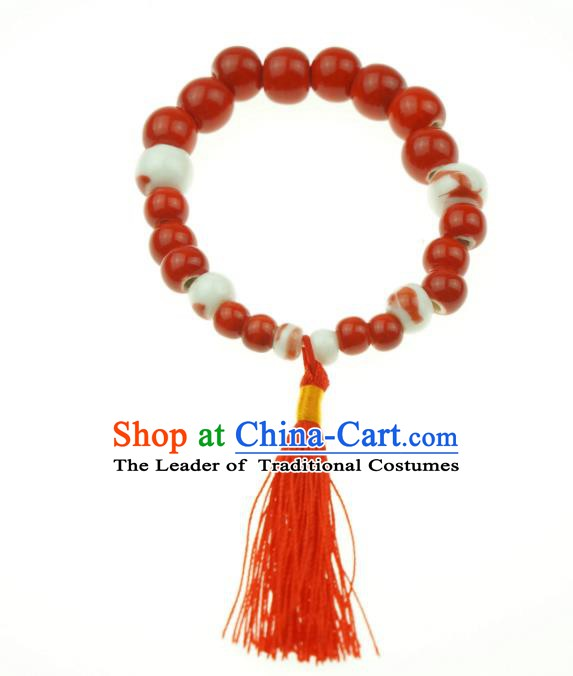 Traditional Chinese Bracelet Accessories Jingdezhen Ceramics Red Beads Bangle for Women
