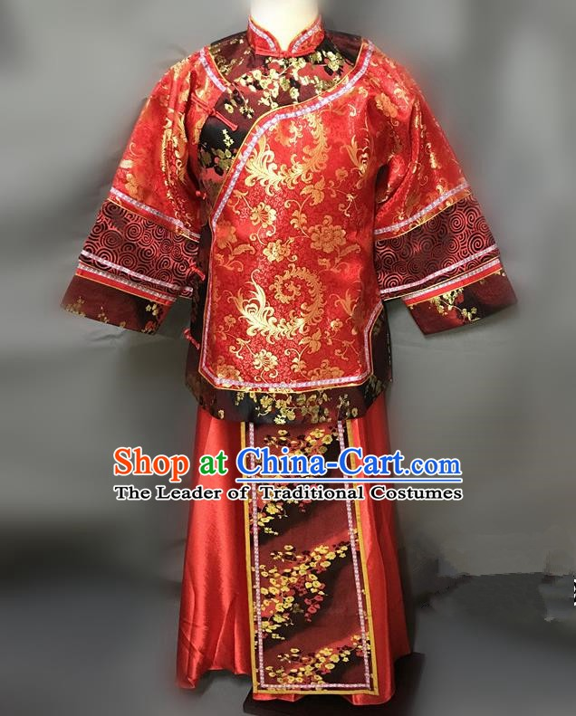 Traditional Chinese Qing Dynasty Young Mistress Costume Ancient Embroidered Red Xiuhe Suit for Women