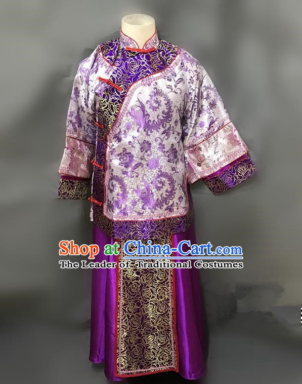 Traditional Chinese Qing Dynasty Young Mistress Costume Ancient Embroidered Purple Xiuhe Suit for Women